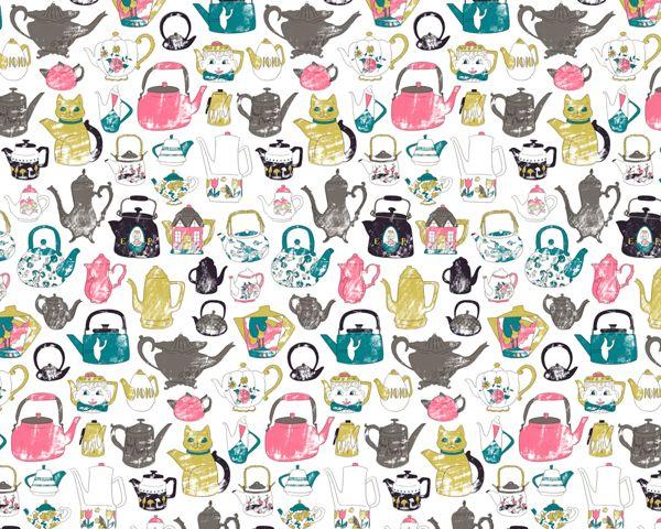 Teapots pattern by Harriet Taylor Seed, via Behance