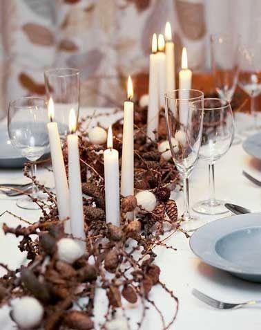 centre de table de nol avec bougies esprit nordique - Centre De Table Bougie