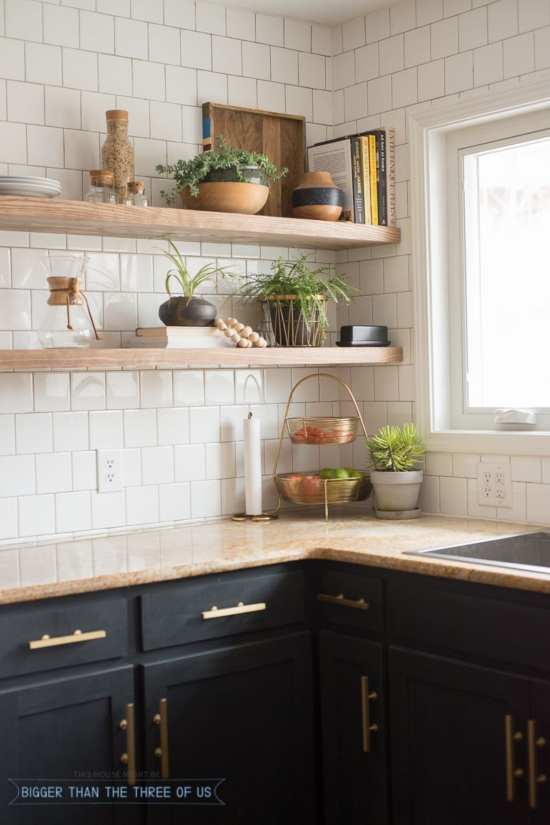 Kitchen Renovation with Dark and Open Shelving