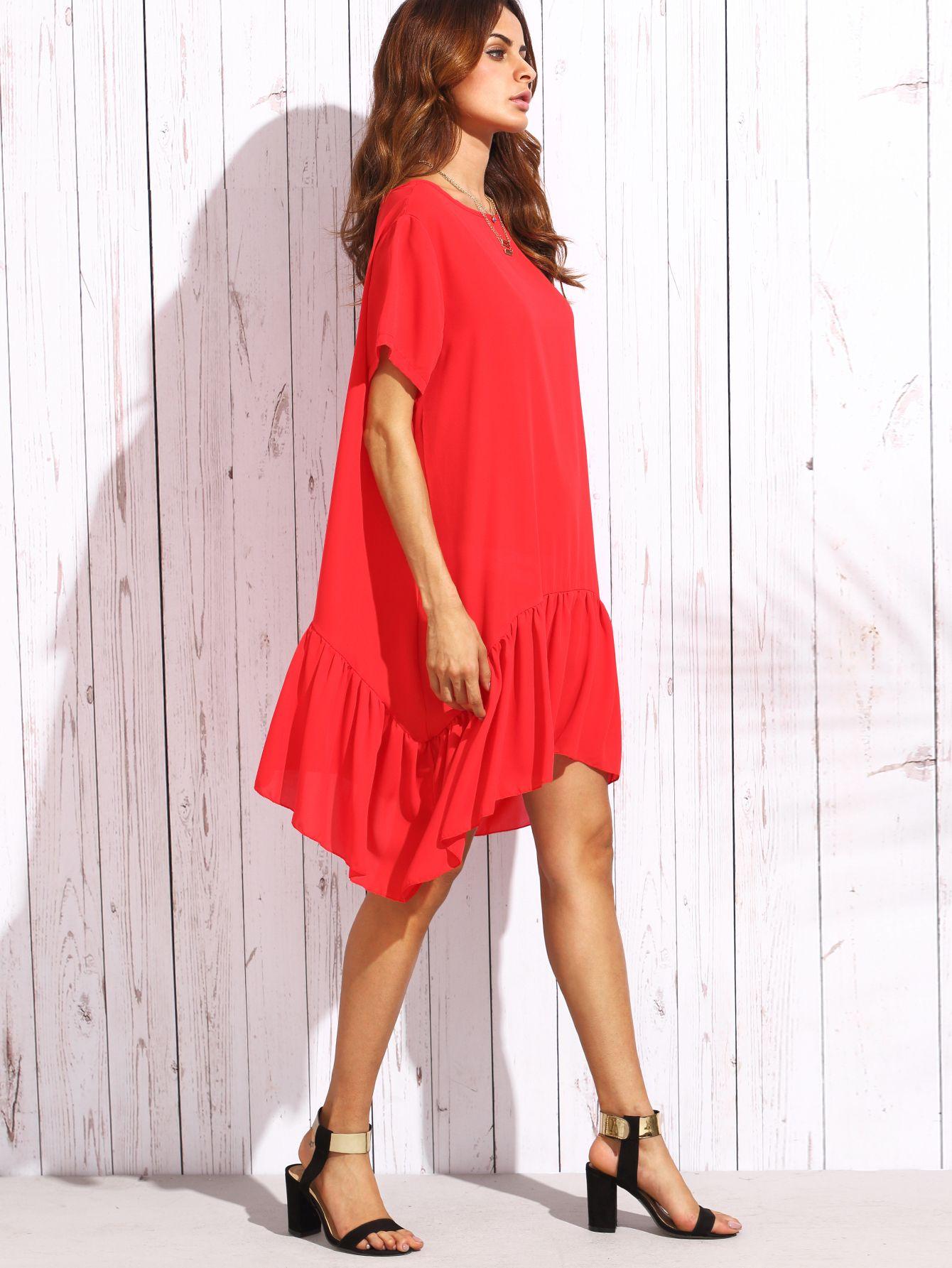 Red ruffle short sleeve asymmetrical shift dress womenus basic