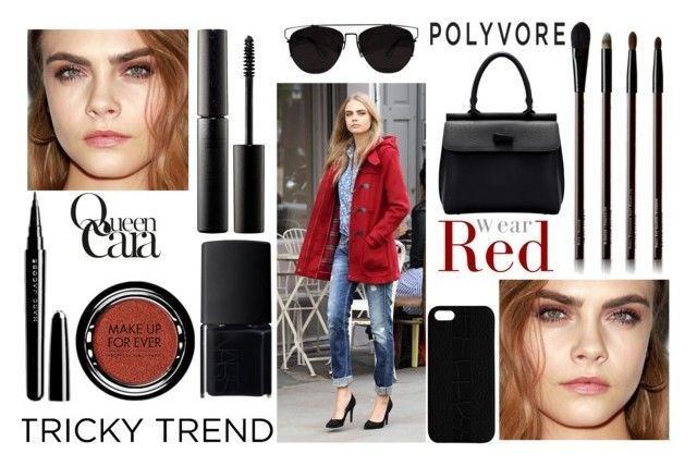 """""""tricky trend...red eyeshadow"""" by j-n-a ❤ liked on Polyvore featuring beauty, Kevyn Aucoin, Maison Takuya, Surratt, NARS Cosmetics, Marc Jacobs, Retrò, MAKE UP FOR EVER, polyvoreeditorial and redeye"""