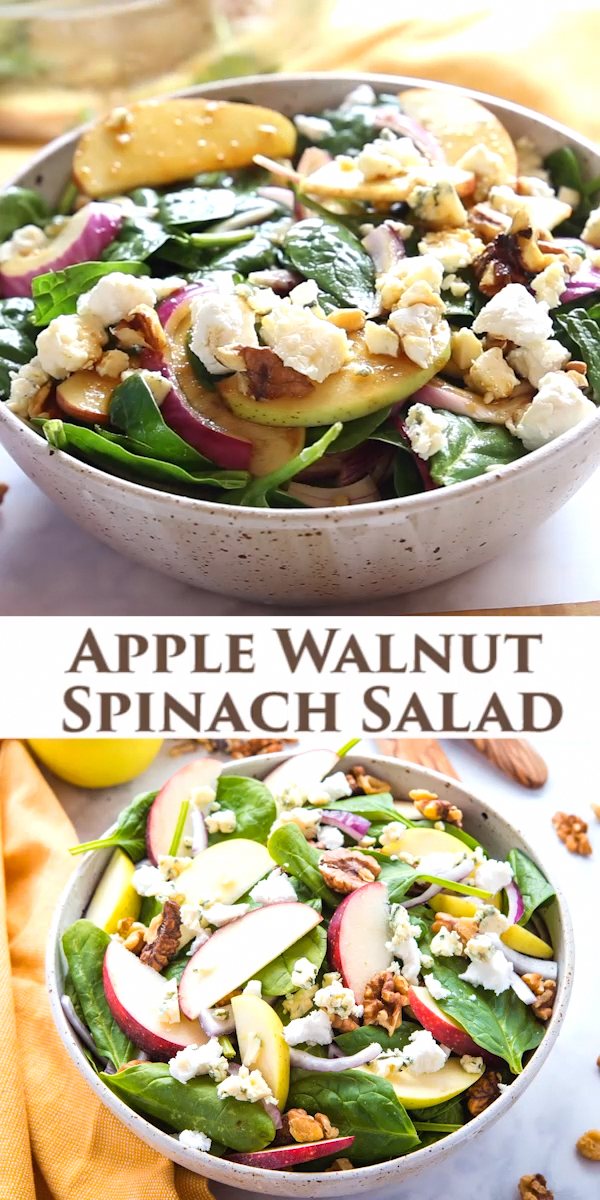 This Apple Walnut Spinach Salad with Balsamic Vinaigrette Dressing is a delicious winter salad recipe that's packed with healthy greens, fruit, nuts, sweet onions, sharp blue cheese and buttery goat cheese, all topped with a sweet balsamic salad dressing! Recipe from !