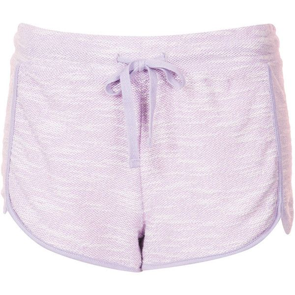TOPSHOP Contrast Marl Runner Shorts (€8,20) ❤ liked on Polyvore featuring shorts, bottoms, short, clothes - shorts, lilac, short shorts and topshop shorts