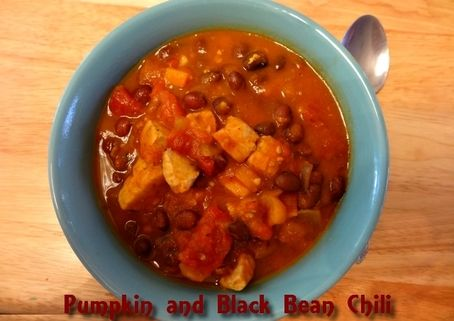 Pumpkin and Black Bean Chili  http://www.momspantrykitchen.com/pumpkin-and-black-bean-chili.html