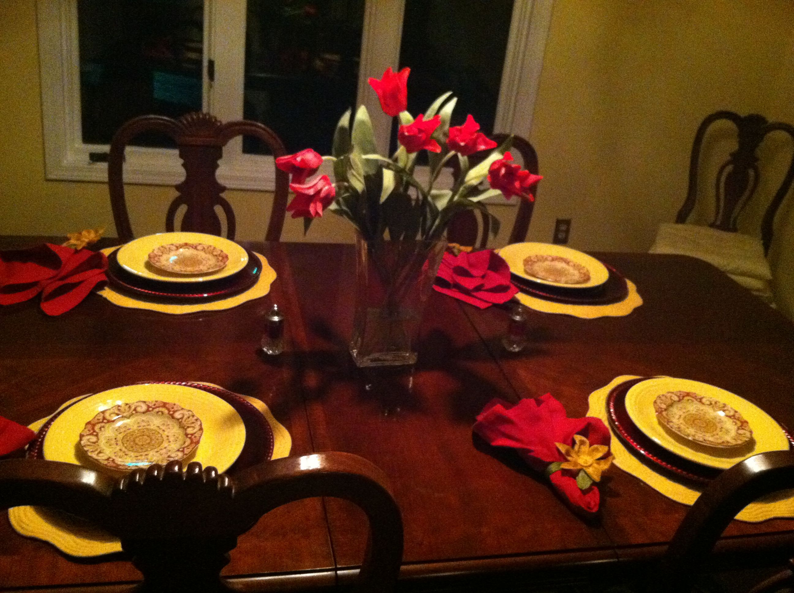 Red And Yellow Table Setting Yellow Table Table Decorations Table Settings