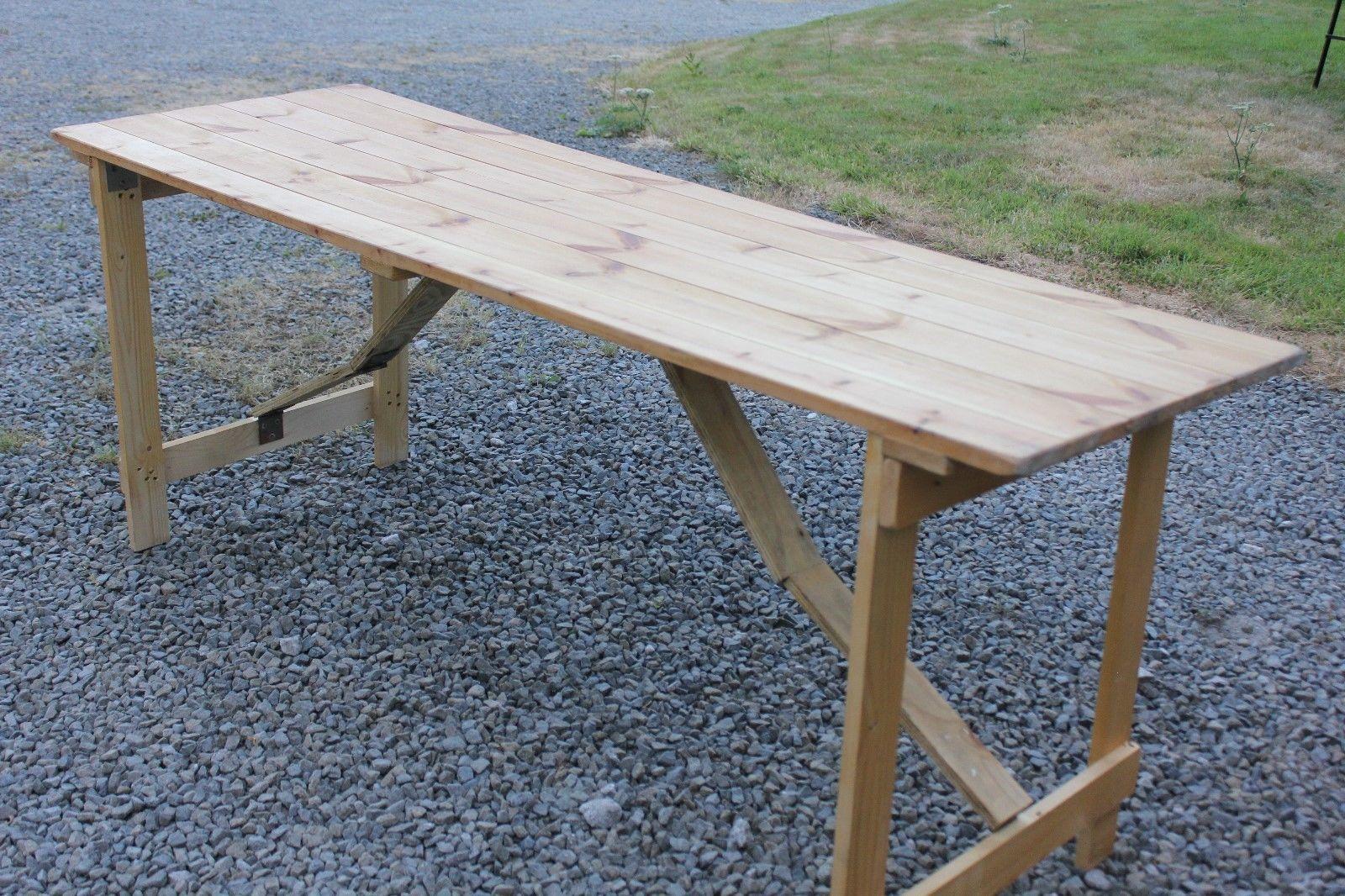 Wooden Trestle Table 6 X 2 With Folding Legs Ebay Wooden Trestle Table Trestle Table Table