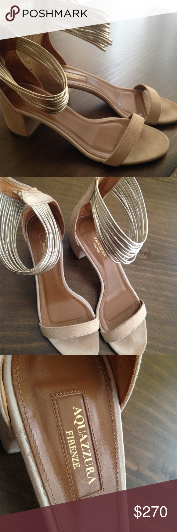 439bb8450 Aquazzura Firebze - Vero Cuoio sandal heels - the price is lowered because  the soles are kinda worn but other than that the heels are in good  condition ...