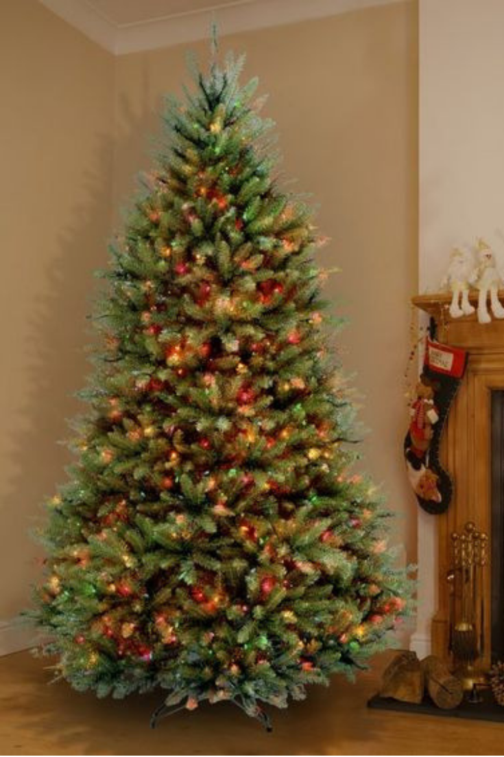 Hinged Green Fir Artificial Christmas Tree With Multi Colored Lights Cool Christmas Trees Advent Decorations Artificial Christmas Tree