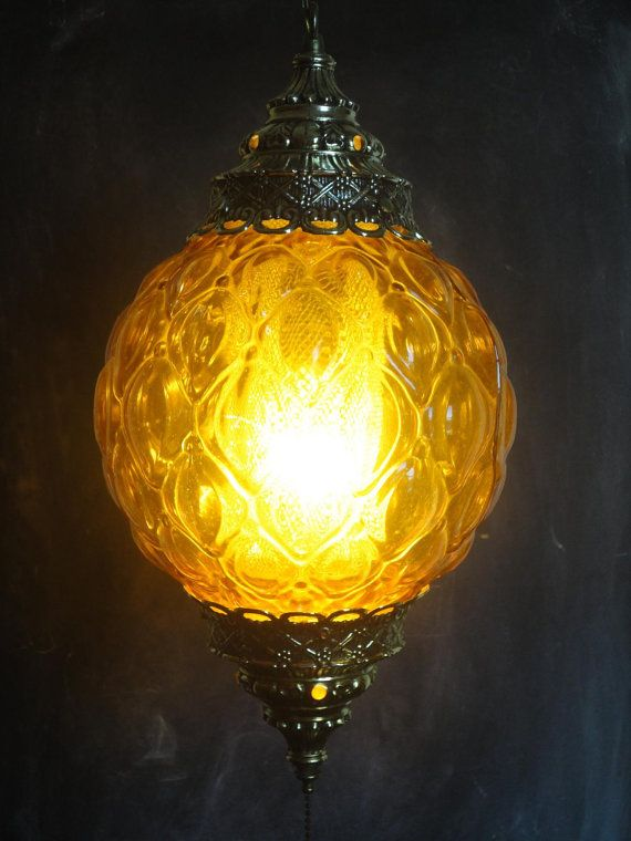 Large Vintage 60 S Hanging Swag Lamp Round Textured Amber Colored Glass Diffuser Gold Toned Metal Swag Lamp Swag Light Vintage Lamps