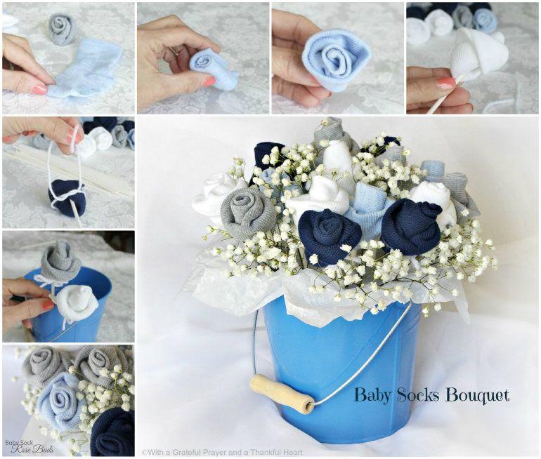 Aus Baby-Kleidung oder -Socken kann man ein Bouquet basteln - wie ...