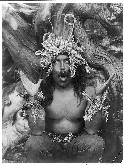 Hamatsa shaman possessed by supernatural power after having spent several days in the woods as part of an initiation ritual. Edward C. Curtis from the Library of Congress