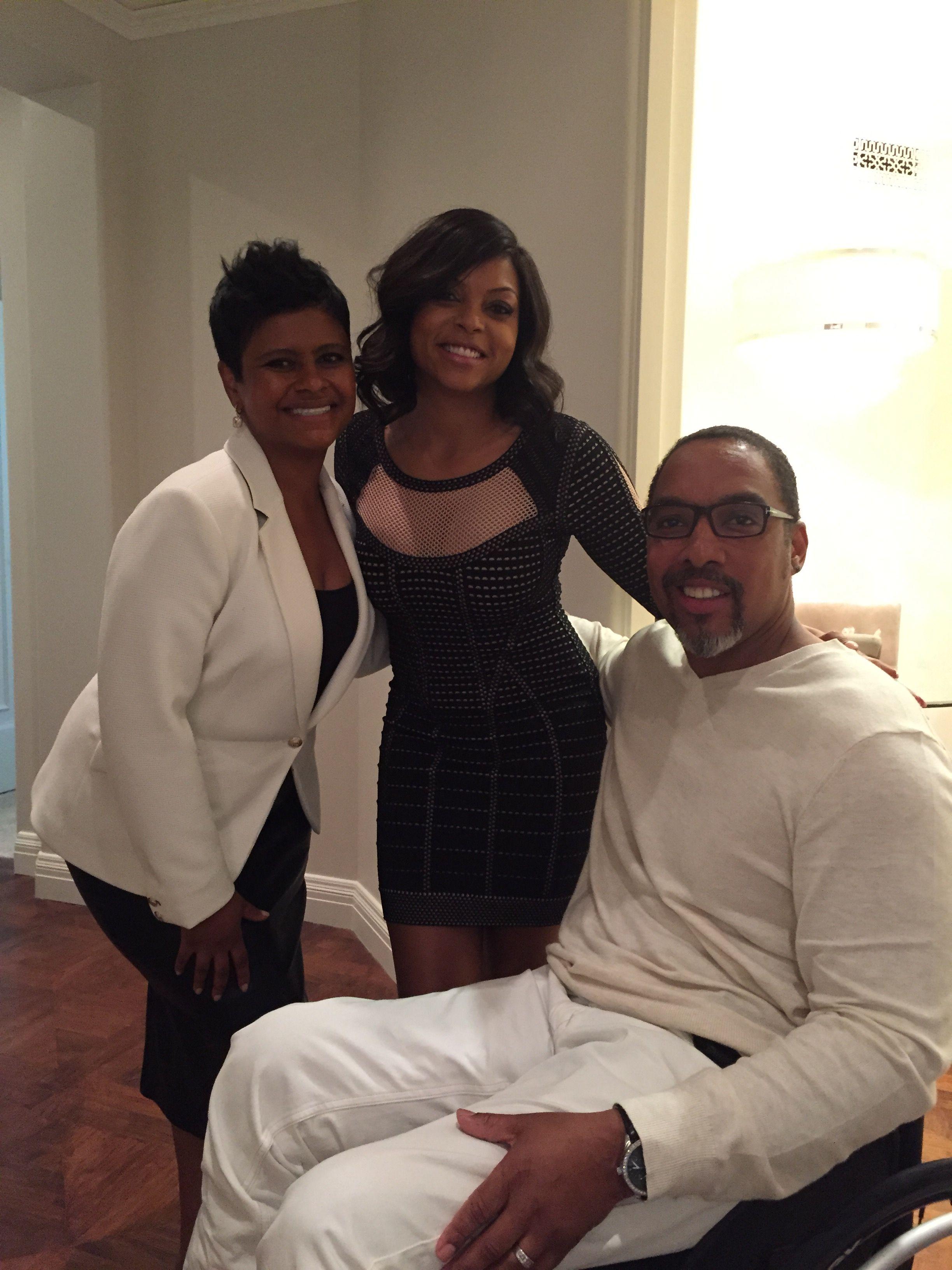 Alecia Johnson and husband Charles with Taraji Henson