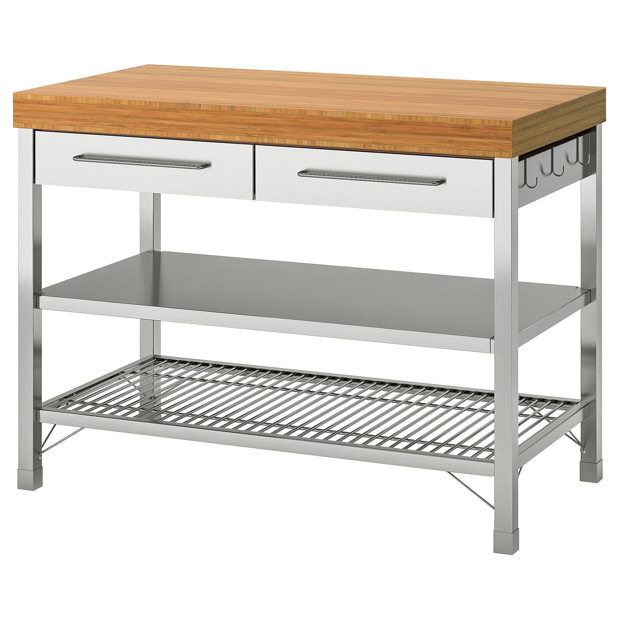 Rimforsa Werkbank Roestvrij Staal Bamboe Ikea Ikea Kitchen Island Cart Ikea Workbench