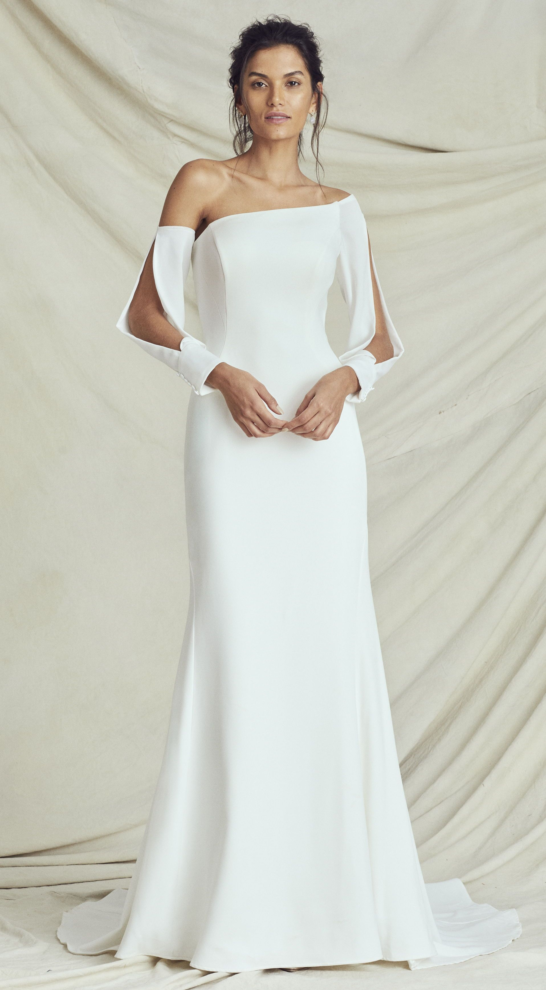 0f6c0b3be1 Kelly Faetanini Fall 2019 Wedding Dresses Carrousel Bridal Collection.  Unique sheath simple modern wedding dress with long detachable sleeves one  shoulder ...