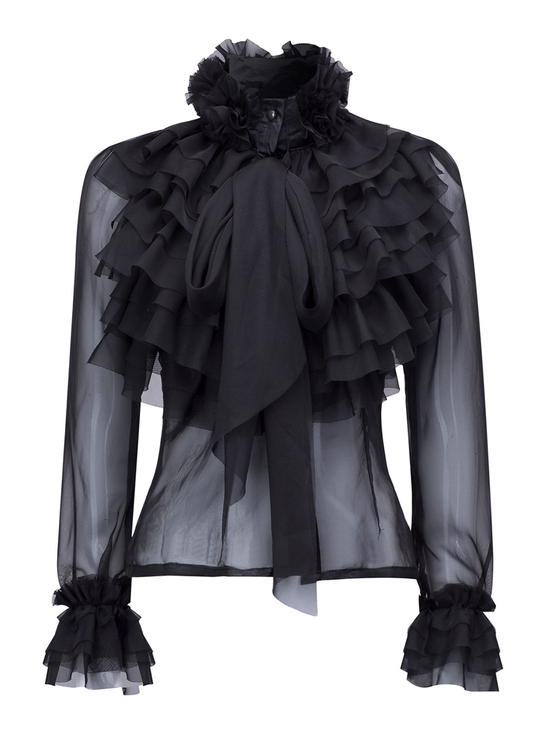 0a16220758f11 Shop Black High Neck Bow Tie Front Layered Ruffle Sheer Shirt from  choies.com .Free shipping Worldwide. 29.9