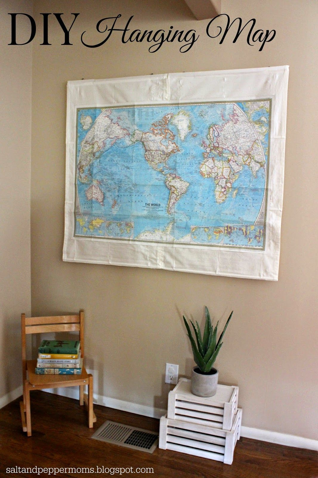 Diy Hanging Map How I Took Two Old Roman Shades From Ikea And A 1