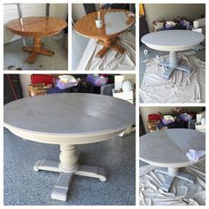 Grey Wash Pedestal Dining Table With Annie Sloan Chalk Paint! Paris Grey  With A French