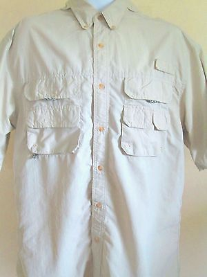 Mens Fishing Shirt Large short sleeve Button front Nylon Solid beige Bimini Bay free shipping great deals
