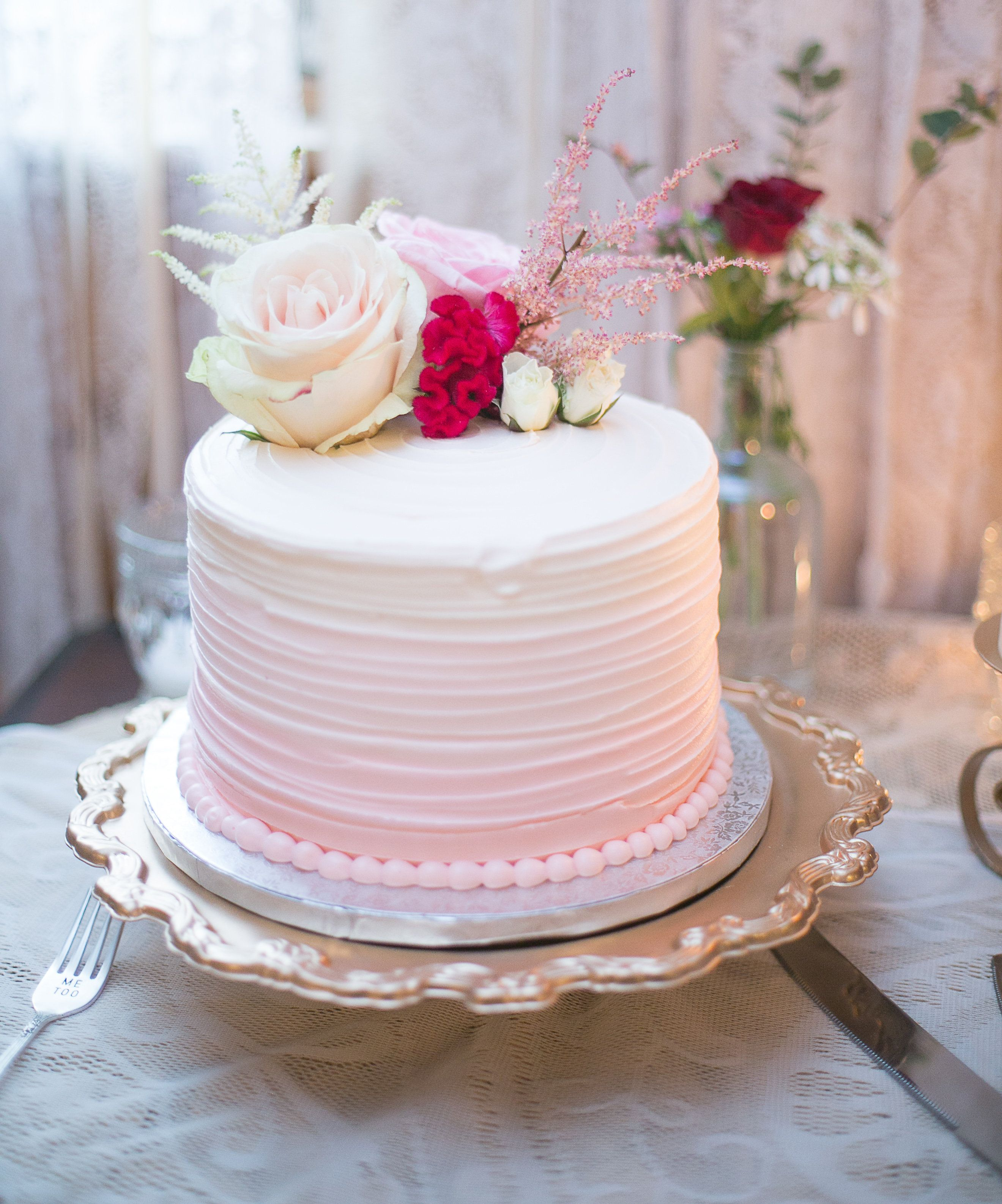 Pretty pink vineyard wedding ombre wedding cake and cake
