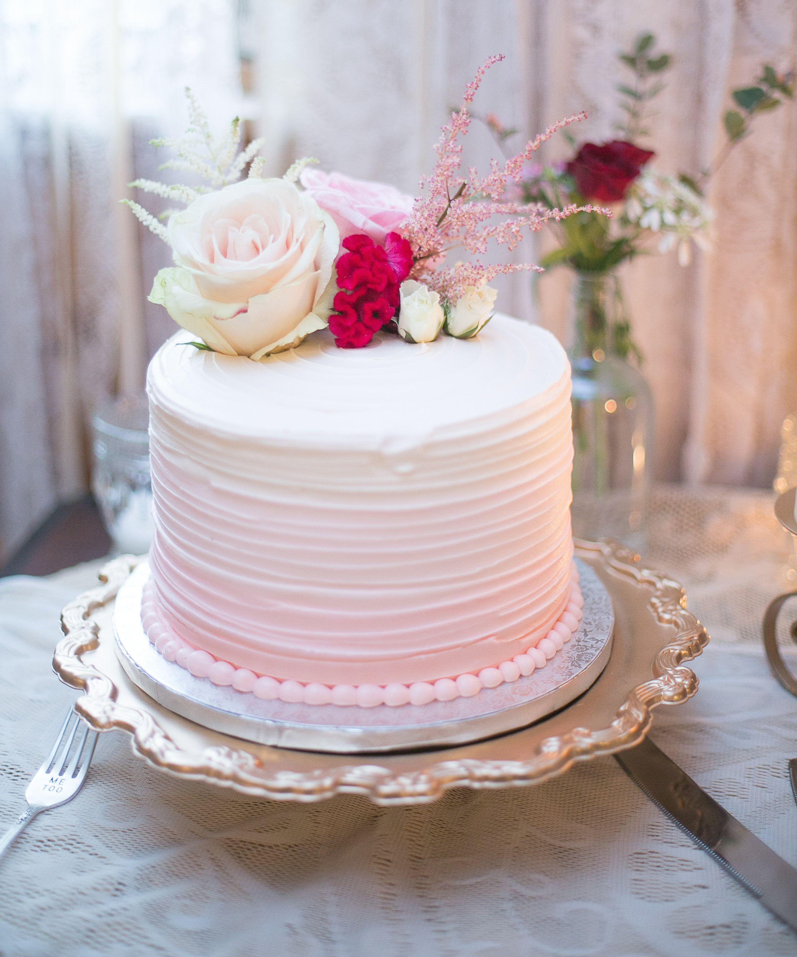 Pretty pink vineyard wedding ombre wedding cake and cake