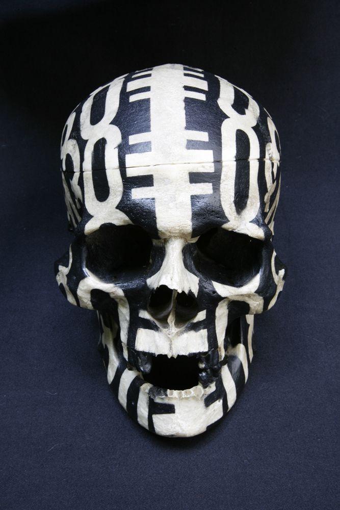 Kendell Geers - Fuckface (2005), spray paint on human skull, 22 x 14 x 15 cm | kendellgeers.com