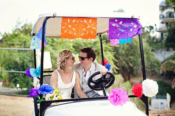 fd9b4a18483 wedding golf cart Brightly Colored Beach Wedding in Sayulita