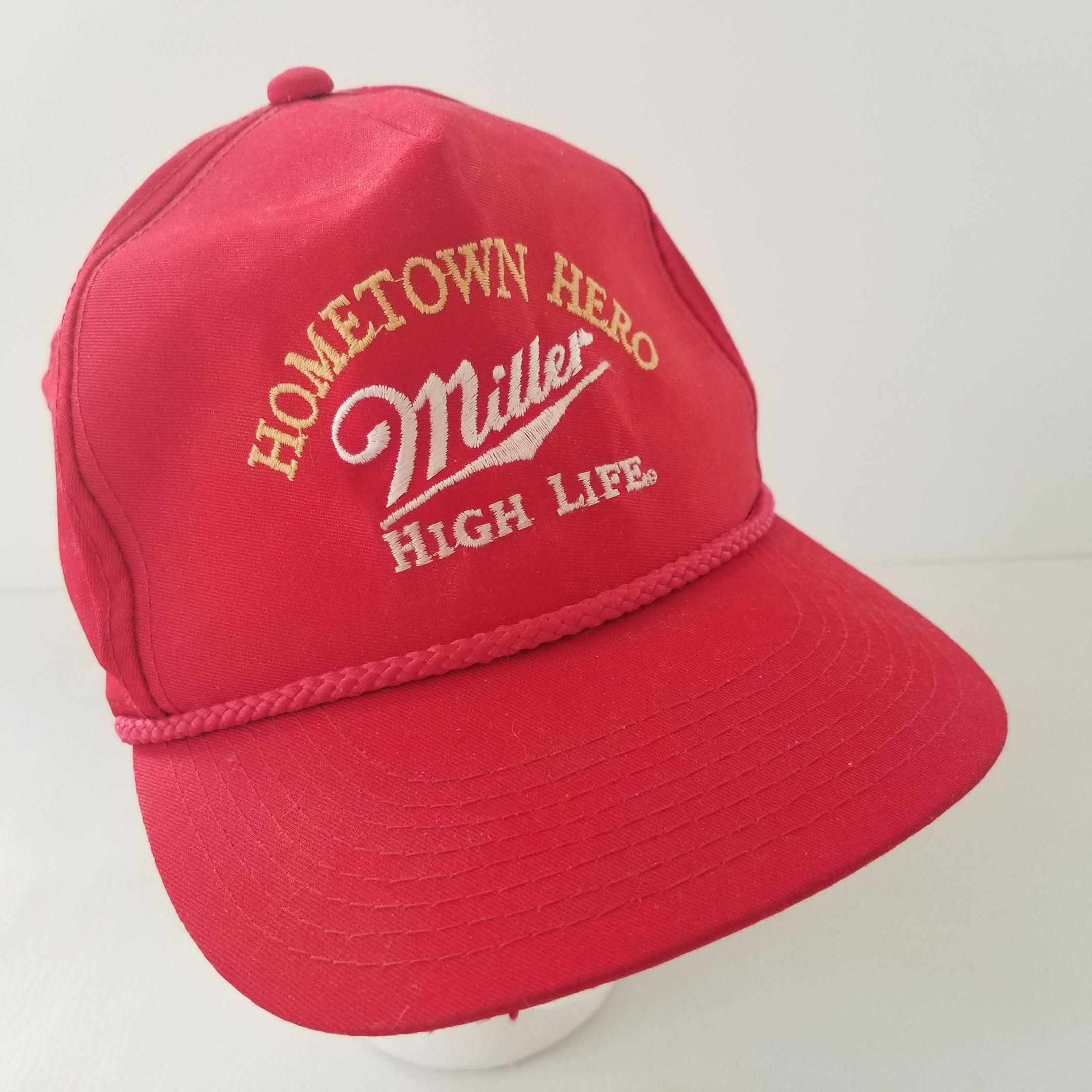 cb31dbc21 Vintage Miller High Life Hat Hometown Hero Red Embroidered 80s 90s ...