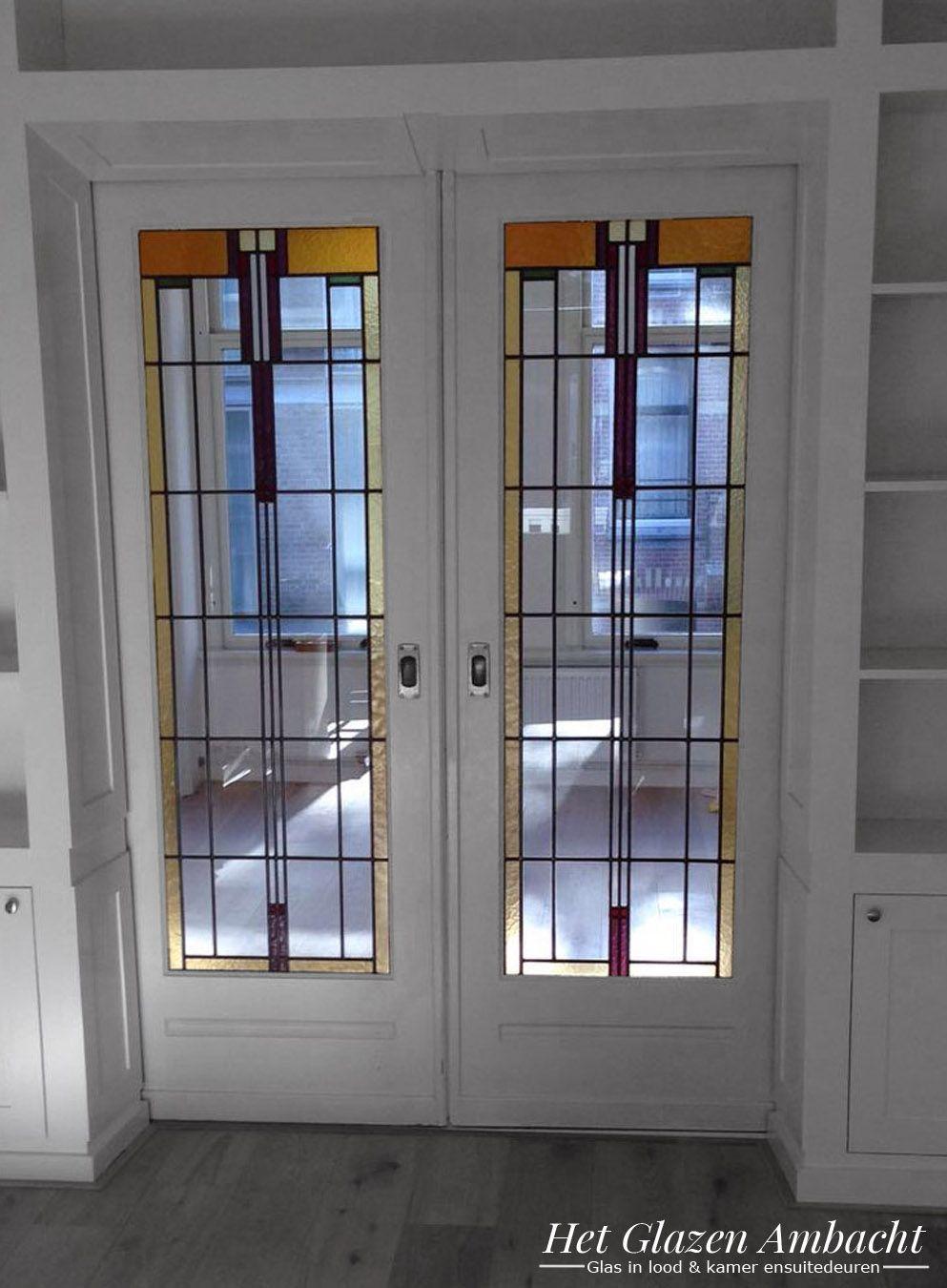 Schuifdeuren In Glas.Ensuite Schuifdeuren Met Glas In Lood Art Deco Glas In Lood