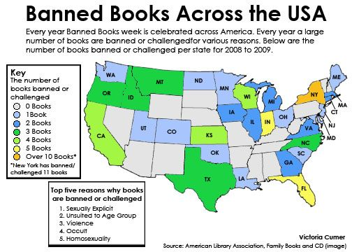 Map Of Usa With States Banning Books Have You Seen The
