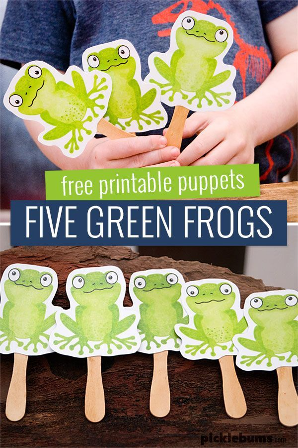 Five Green Frogs Printable Puppets  - these are great for singing your favourite frog pond, or for play dough or imaginative play.   #picklebumsprintables #freeprintablesforkids #freeprintables #preschoolactivities #numberlearning #earlychildhoodeducation