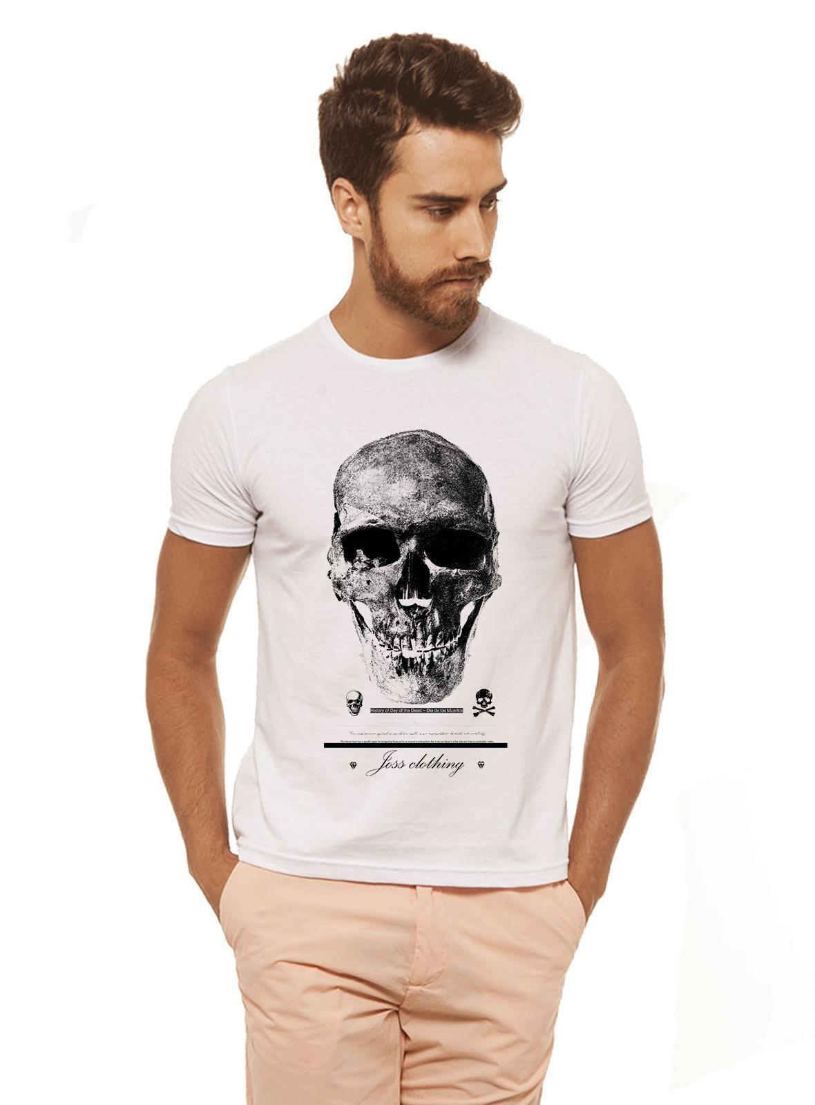 da877486eb Camiseta Premium Caveira Branca Estampada