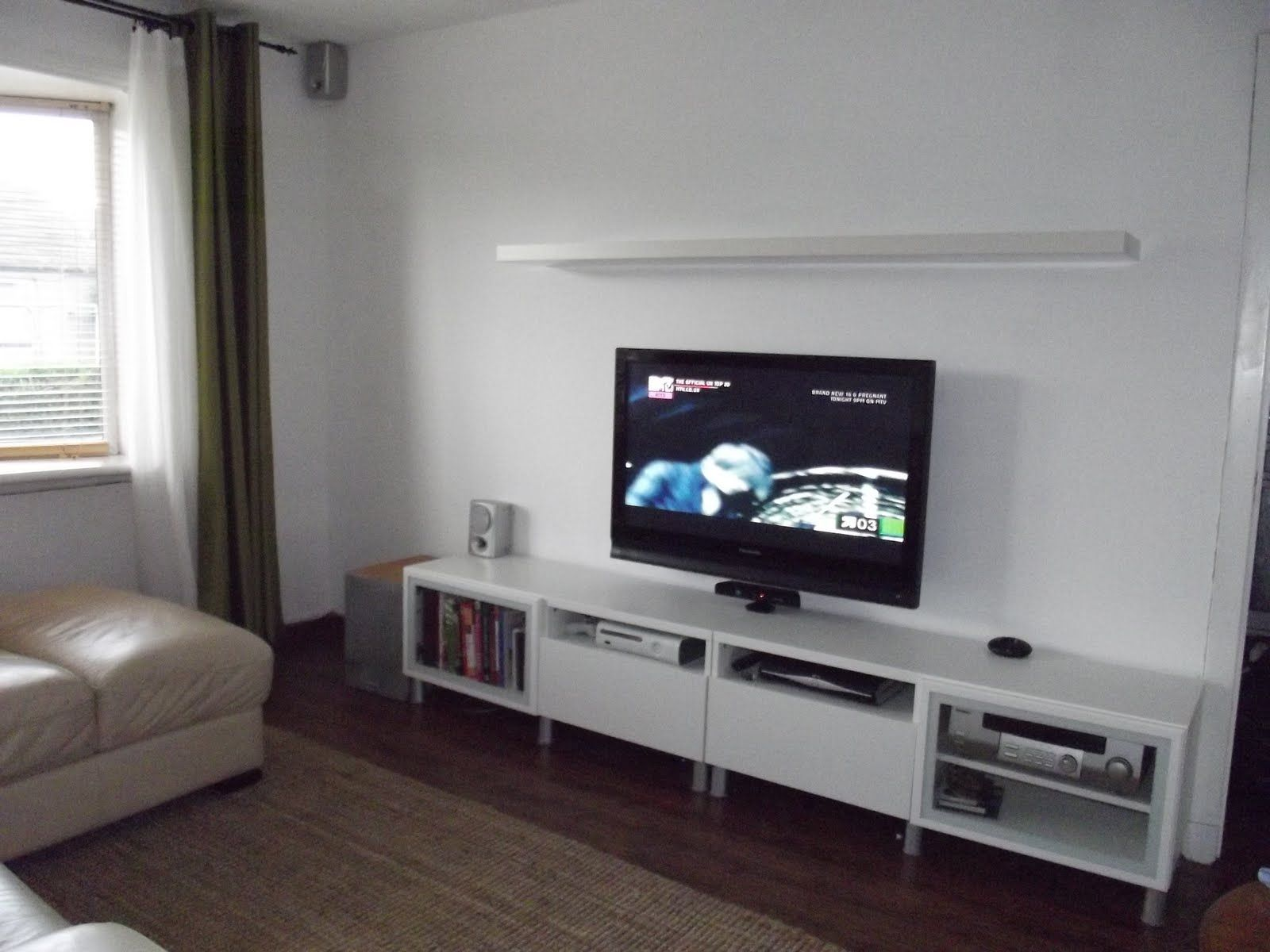 Rectangle Black Wooden Tv Cabinet With Glass Doors On The Corner