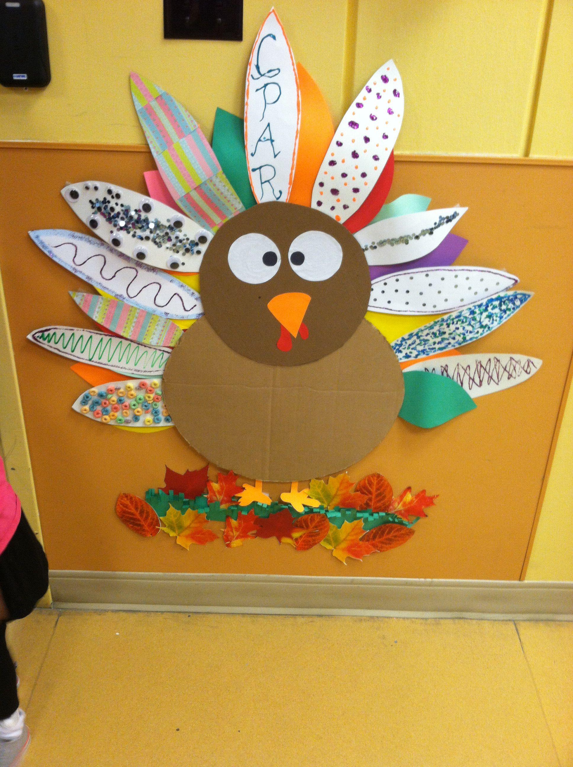 Thanksgiving Classroom Decoration ~ Thanksgiving turkey classroom decoration work
