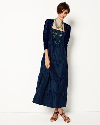 6cd900014a2 ᘡ Eileen Fisher ~~ Cropped Crepe Cardigan   Tiered Silk Maxi Dress. Plus  sized! Silk! Wants! ᘞ