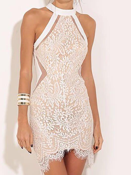 White Crew Neck Lace Bodycon Dress -   16 dress Lace bodycon ideas