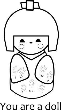Free Printable Kokeshi Doll Coloring Page