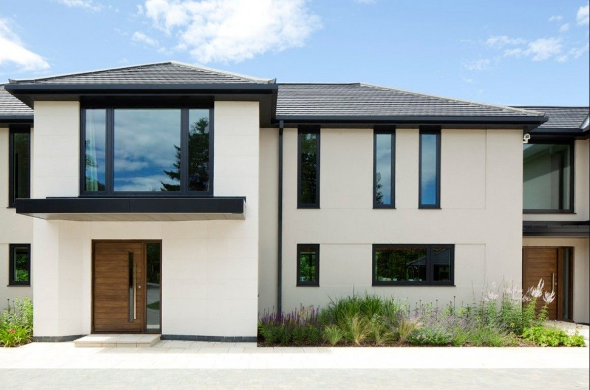 Architecture Majestic Modern House Windows With Nice White Exterior Finish And Black Steel Window Frames Also Grey Clay Roofing