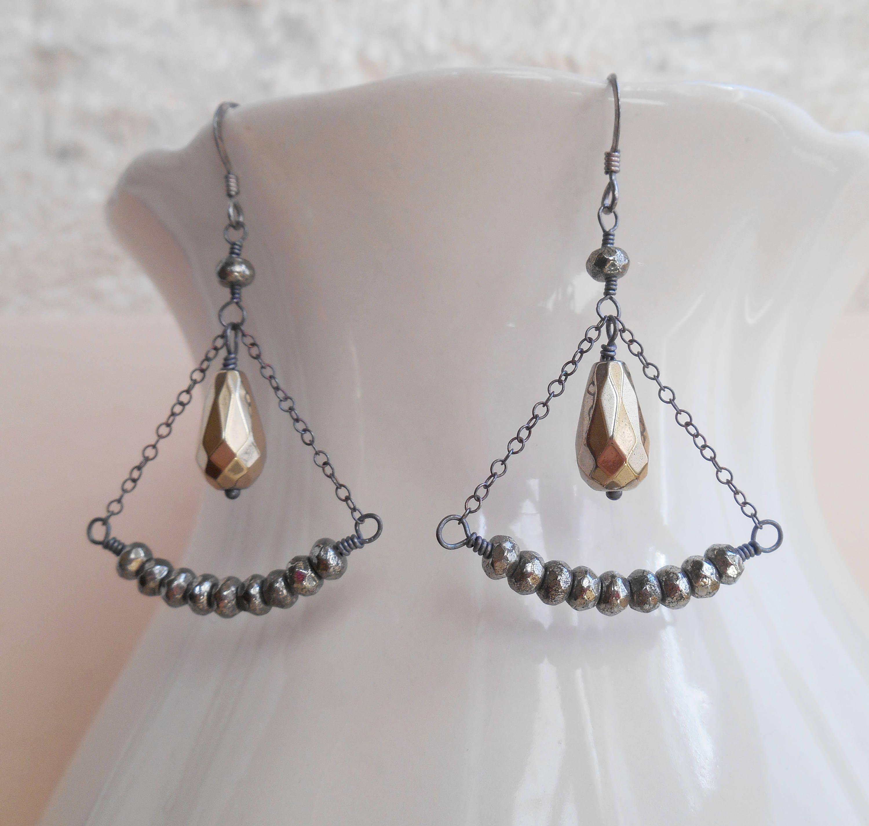 Isabel fan oxidized sterling silver gemstone wire wrap dangle ...