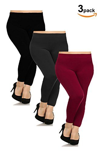 c8739ba011f17 Basico Womens Plus Size 3pack 1 pack Seamless Fleece Lined Leggings One Size  Wine Charcoal Black >>> Check this awesome product by going to the link at  the ...