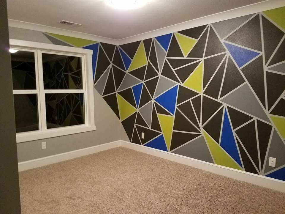 My Son Wanted A Geometric Wall Design With His Favorite Paint Colors So With Some Painter S T Painters Tape Wall Painters Tape Design Wall Bedroom Wall Paint