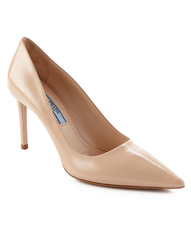 368040680101 PRADA Prada Saffiano Leather Pointy-Toe Pump .  prada  shoes  pumps   high  heels