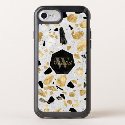 Classy gold vintage marble abstract terrazzo speck iPhone case ...