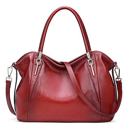 7f8f71390f AINIMOER Womens Soft Genuine Leather Vintage Shoulder Bag Ladies Handbags  Tote Top-handle Purse Cross Body Bags(Wine)    Want to know more