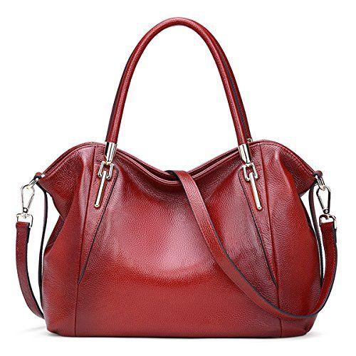 e071b91fd6e94 AINIMOER Womens Soft Genuine Leather Vintage Shoulder Bag Ladies Handbags  Tote Top-handle Purse Cross Body Bags(Wine) ** Want to know more, ...