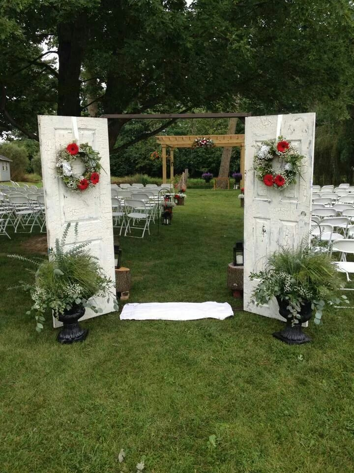 Entrance For An Outdoor Wedding Old Cheap Doors With Crackle Paint Nailed Onto A Makeshift