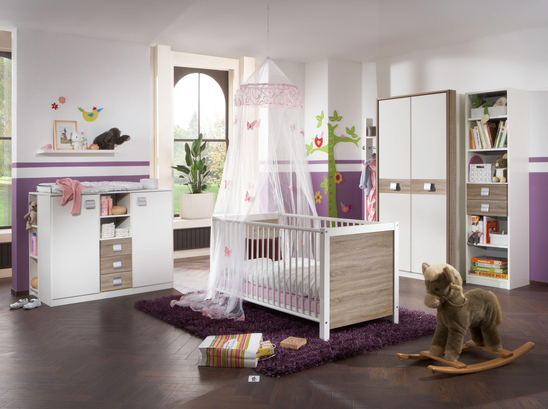 Babyzimmer Mit Bett 70 X 140 Cm Alpinweiss/ Eiche Sägerau