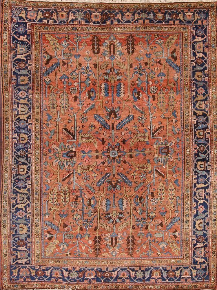 Antique All Over 9x12 Bakshaish Heriz Serapi Persian Oriental Rug 11