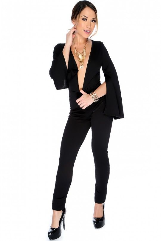 dd7e6665fb4c Sexy Black Flared Slit Long Sleeve Plunging Neckline Dressy Jumpsuit ...
