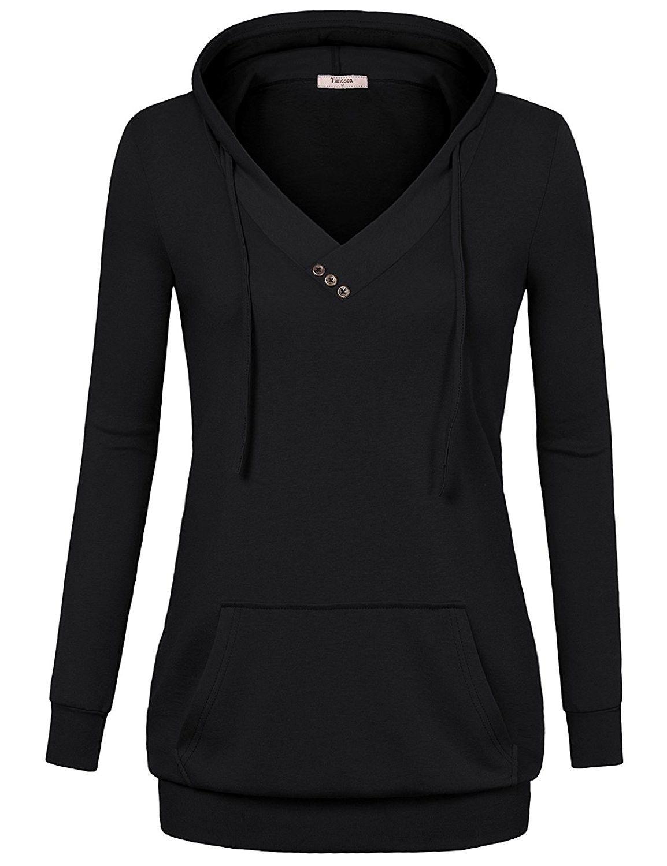 Timeson Women Long Sleeve Shirt V Neck Pullover Kangaroo Pocket Thin Sweatshi...