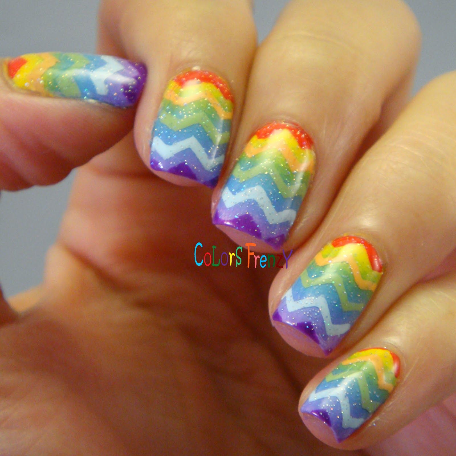Colors Frenzy: Twin Post with PJ's and Polish - Rainbow Mani